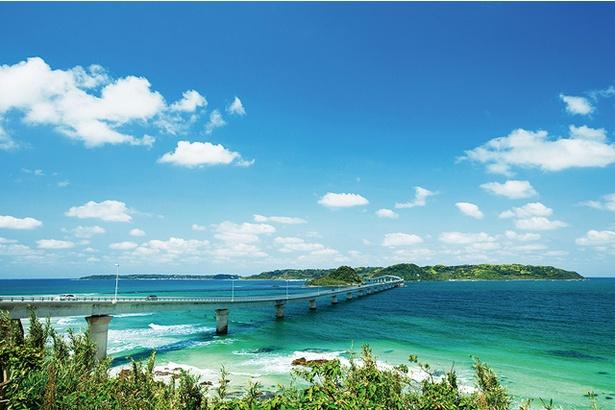 角島大橋 /  本土側の橋のたもとにある「海士ヶ瀬(あまがせ)公園」からの眺望。橋の全景が望めるので、絶景を撮影しようと訪れる人も多い