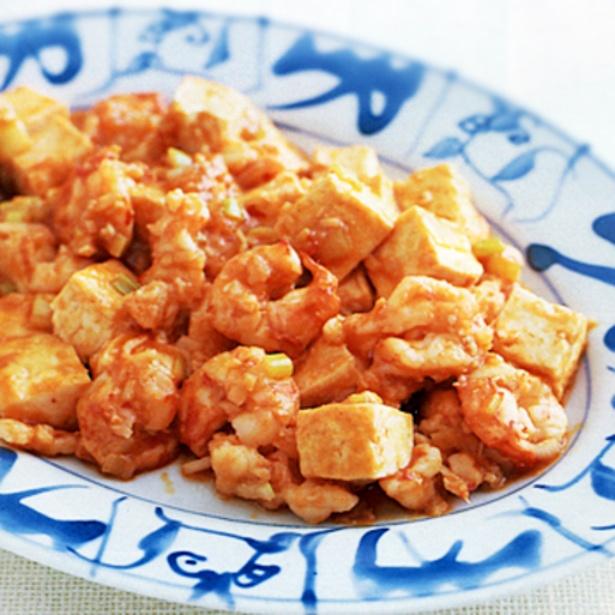 「えびと豆腐のチリソース炒め」