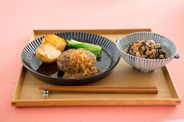 【主菜】玉ねぎソースの和風バーグ【副菜】しらたきとひじき炒め煮