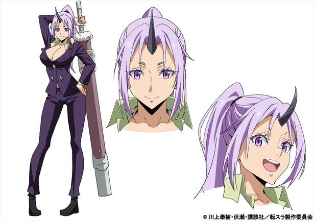 シオン(CV:M・A・O)。紫の髪と黒曜石のような角を持つ大鬼族(オーガ)の一族。見た目はクールビューティーだが、その戦闘力は髙い