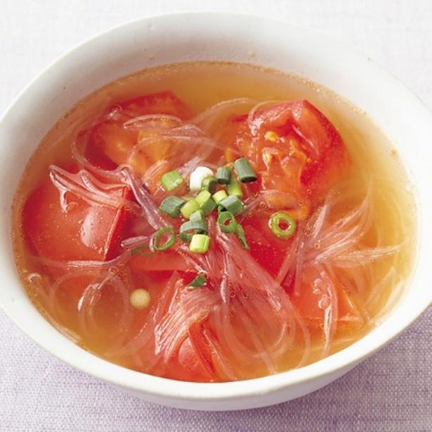 「トマトとはるさめの中華スープ」