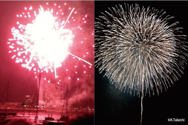 (左)ピンボケ、露出オーバーになった失敗例(右)冠菊花火のスターマインをスマホで撮った成功例。両手でスマホを持ち脇を締めてブレないようにして撮影した