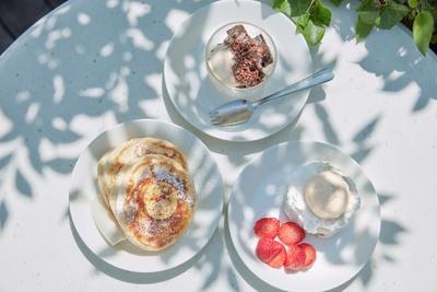 【写真を見る】キッズメニューデザート3種。リコッタパンケーキやパブロバなどが選べる。