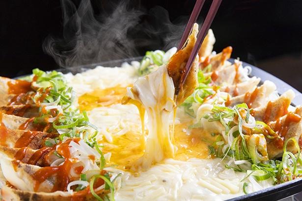 店の看板メニュー「元祖鉄板餃子フォンデュ」(2人前2040円)はインスタ映え間違いなし! とろける2種のチーズを餃子にたっぷり絡めていただく