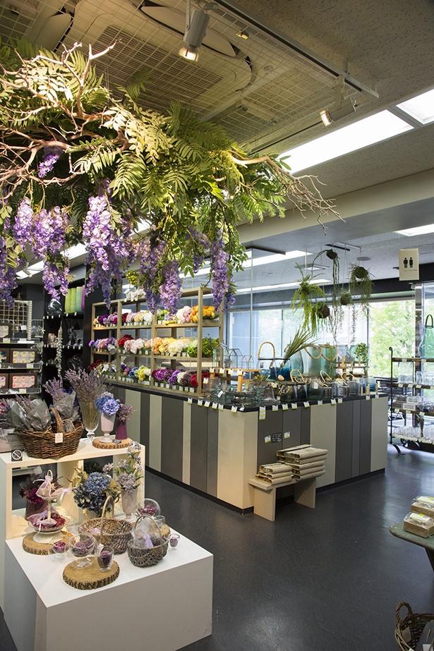 ドライフラワー、プリザーブドフラワー、ガラス製の花器などが並ぶ2階フロア