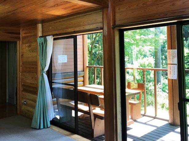 古処山キャンプ村 遊人の杜 / 5人用コテージ。窓から陽射しが注ぐ。周囲は広葉樹林だ