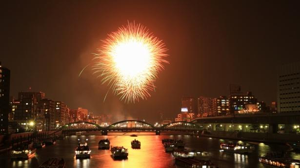 現代の隅田川花火大会の様子