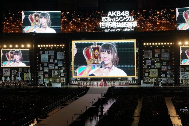 「意外にマンゴー」「無意識の色」でセンターを務めた小畑優奈は「SKE48は先輩が引っ張っていくことが多かった。後輩としてもグループを引っ張っていきたい」と語った