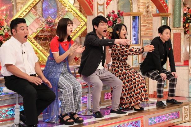 スタジオでは山崎弘也、藤田ニコル、川島明、井森美幸、有吉弘行(写真左から)が見守る