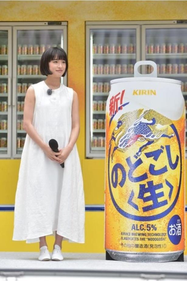 ステージ上には「新!キリン のどごし<生>」の巨大缶 が!