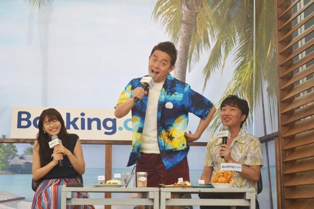 小沢一敬が佐野ひなこを口説くシチュエーションを再現していると、井戸田潤が突然「あま~い」と叫ぶ