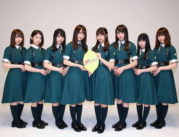 「LINE Pay」CMに出演した欅坂46の長沢菜々香、鈴本美愉、長濱ねる、菅井友香、小林由依、渡辺梨加、上村莉菜、守屋茜(写真左から)