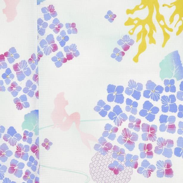 紫陽花の花弁をシェルで表現し、流水をかたどった流水紋とアリエルが描かれている。