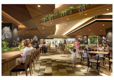 本館1階のフードコートは、ファミリーから1人客まで幅広い利用シーンを想定