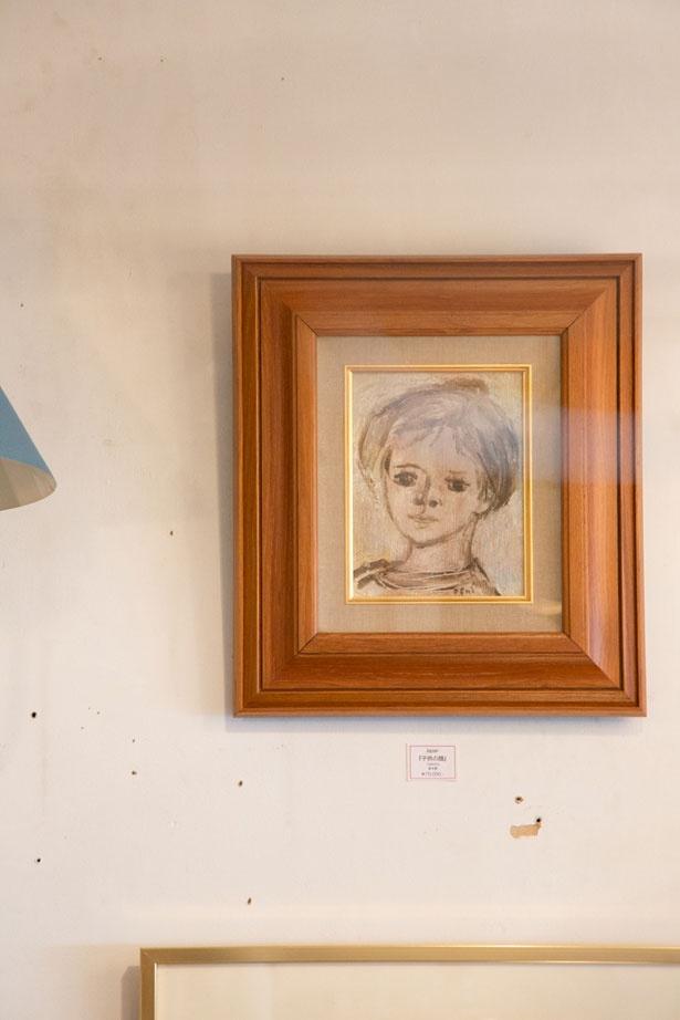 どこかほっとする人物画は、日本の画家・荻太郎さんの作品(7万円)