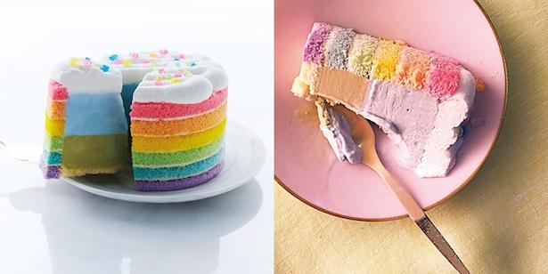虹色が映える!「レインボーアイスケーキ」
