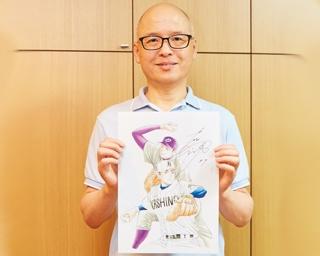 三田先生のお宝グッズ、花巻東時代の大谷選手と「砂の栄冠」の主人公・七嶋の描き下ろし画