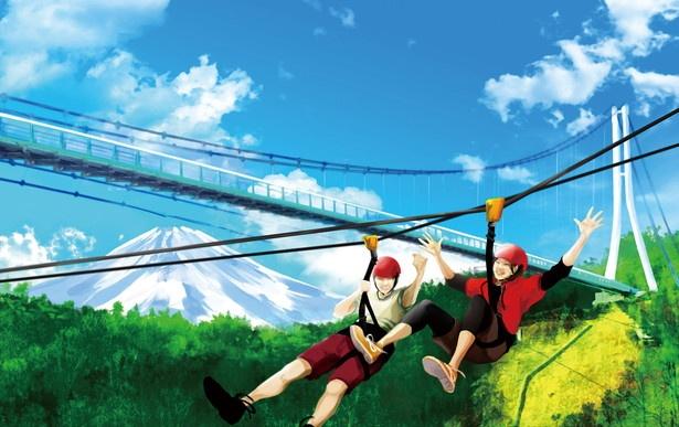 「フォレストアドベンチャー・ 三島スカイウォーク」で体験できる「ロングジップライン」(往復1800円)。往路と復路でコースが異なり、景色が2倍楽しめる。2人1組で同時滑走可