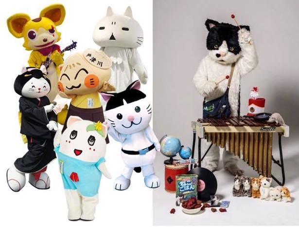 メインステージに登場するご当地猫キャラと、フジロックフェスティバルにも出演した猫アーティストむぎ(猫)