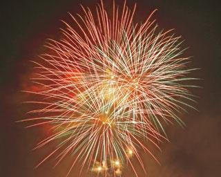赤や黄色など、色とりどりの花火と船渡御のかがり火/天神祭