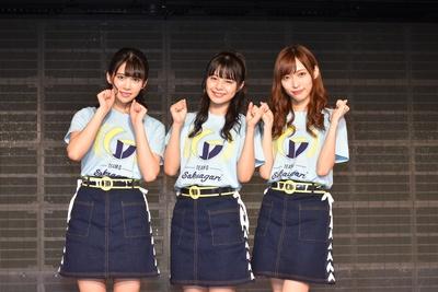 囲み取材に出席した奈良未遥さん、本間日陽さん、山口真帆さん