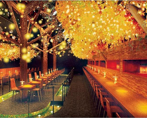 夜の森をイメージした店内にランプがともり、とってもおしゃれ!