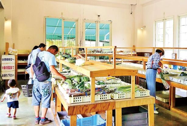 直売所には、ブルーベリーやトマト、ジャガイモ、ズッキーニなどが並ぶ