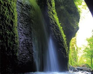 半円状にえぐられた岩肌を流れ落ちるシワガラの滝/シワガラの滝
