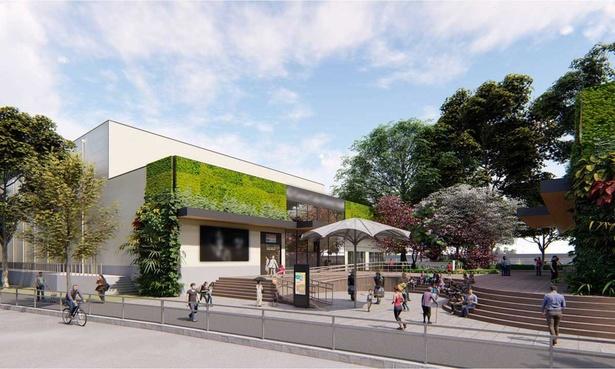 大阪城公園の東側にできるクールジャパンパーク大阪AのWWホール外観