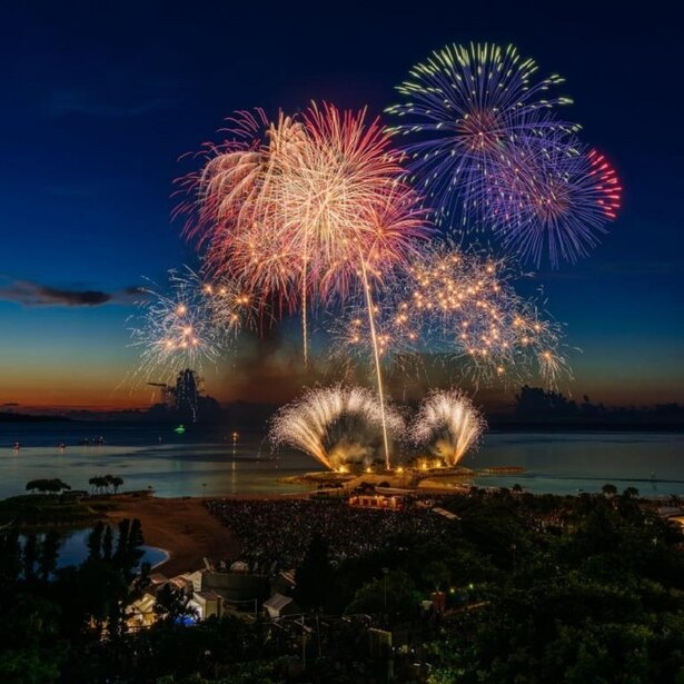海洋博公園サマーフェスティバル2018 第40回海洋博公園花火大会 / 自然豊かな「やんばるの森」をテーマとした華やかな花火が観客を魅了