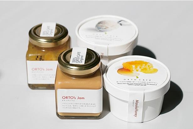 「ORTO's Bakery cosses」では、自家製のスプレッド、ジャム(各500円)などパンのお供も販売する