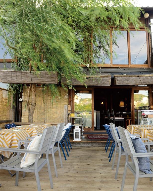 鴨川の川床を気軽なビストロスタイルで楽しめるのは同店ならでは/イカリヤ食堂