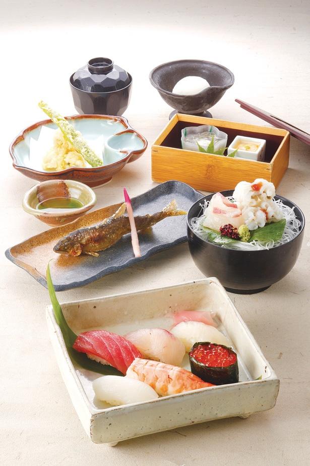 床料理「鴨川」は、季節のお通し、ハモおとし、アユの塩焼き、にぎり寿司6貫盛り合わせが付く充実の内容で5800円/先斗町 かっぱ寿司