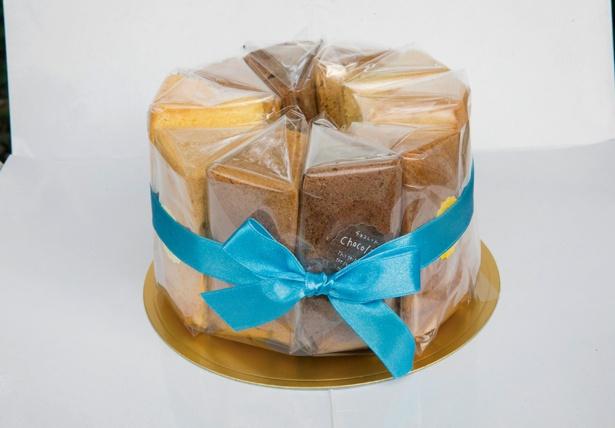 「Chiffon Cake Mums」では、カットしたシフォンにリボンをかけた「シフォンの結晶」17㎝(2,700円)、21㎝(4,158円)