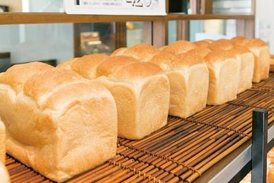 「パン・ド・クルール 照葉スパリゾート店」の「湯だね食パン」(1斤280円)。むっちりとしていてそのまま食べてもほんのりと麦の甘味を感じる