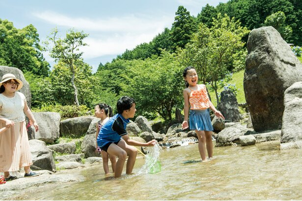 一本松公園(昭和の森) / 公園内には小川が流れる。流れもゆるやかで、10~20㎝程度の浅瀬が多いので、幼児でも遊ばせやすい