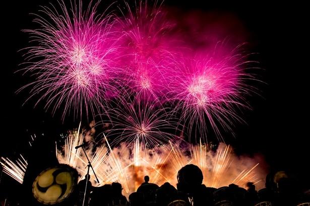 【写真を見る】間近で観る花火は迫力満点!(まつりのべおか花火大会)