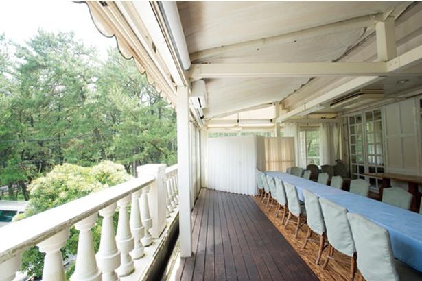 海浜館 / 2階席(要予約)は景色抜群。涼風が松林を通り抜けてくる心地よい空間