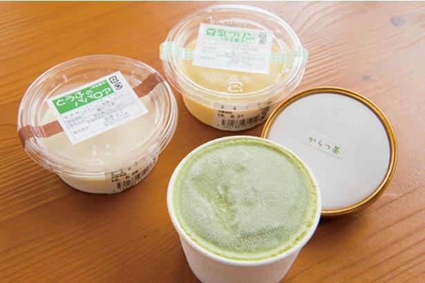 大豆工房 いきさ屋 / 「豆乳プリン」(135円)、「ババロア」(110円)。アイスもある