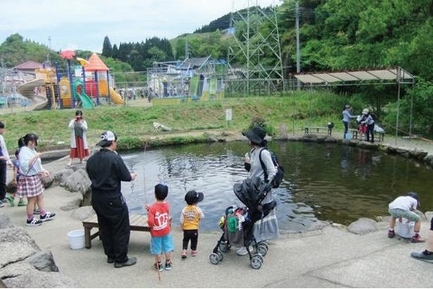 菊池渓谷 水の駅 / ニジマス釣りに挑戦できる釣堀