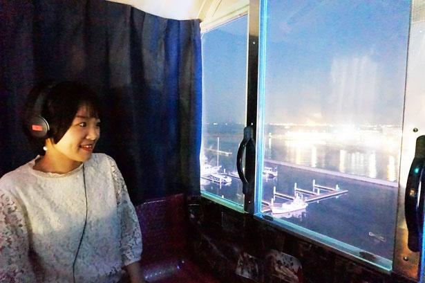 窓からは福岡の夜景を眺めることができ、まだまだ景色を楽しむ余裕があるめぐみさん