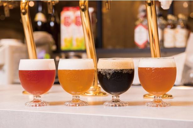 別府亀の井ホテルBEPPU BOLD KITCHEN / 苦味のある黒からフルーツ系ビールまで、4種類の国産クラフトビール(各594円)もある