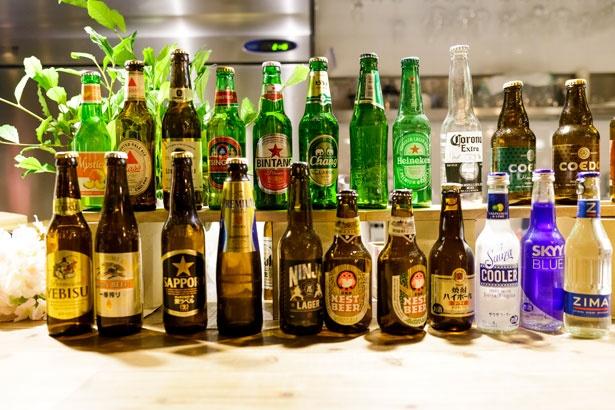 店内には日本やフランス、ドイツなど、世界各国のビール計20種各500円も!