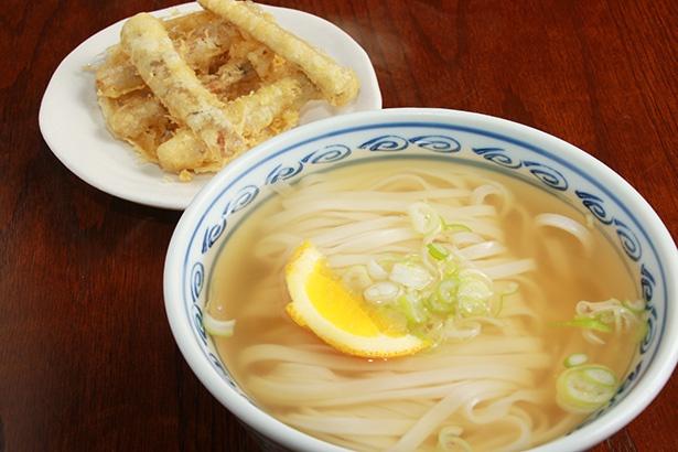 【写真を見る】天ぷらのシャキッとした歯ごたえが楽しい「ごぼう天うどん」(550円)。スープにつけてしんなりさせるのもよし