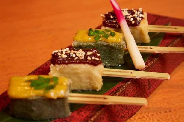味噌をのせた彩りも美しい「生麩の田楽」810円。月替わりメニューの一例