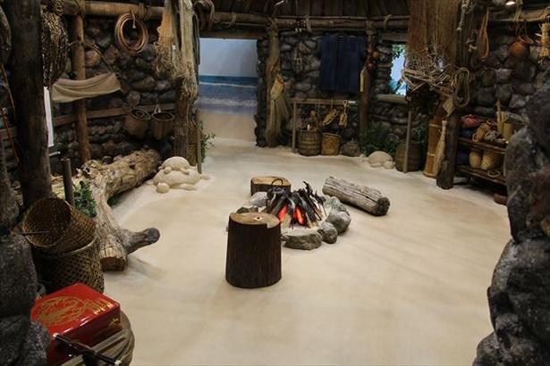三太郎の世界観に合った小道具が多数設置されている