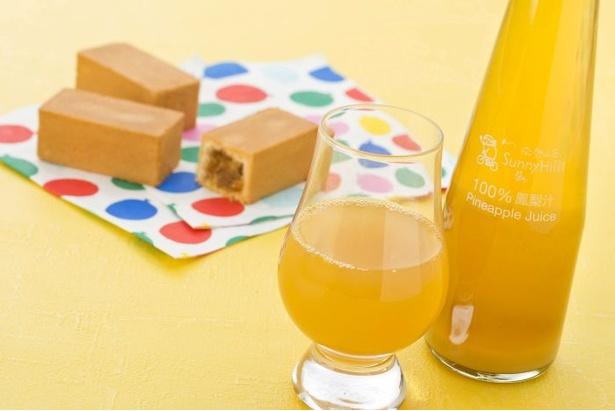 サニーヒルズ南青山店の「パイナップルジュース」(2本入り 1000円)は、甘く熟したパイナップルを添加物を使わずじっくり煮詰めた一品