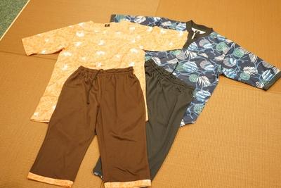 館内専用着は女性用は3種、男性は2種の柄から選べる。サイズはフリーから6Lまで対応!/天然温泉アーバンクア