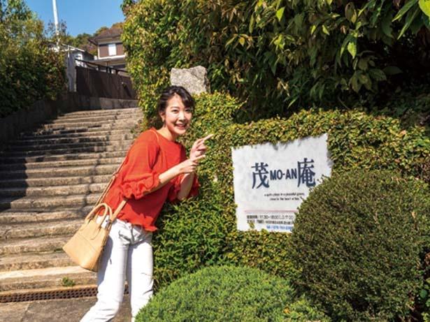 神楽岡通沿いに緑に囲まれた「茂庵」の看板を発見!期待が高まる/茂庵