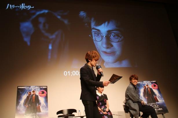 ハリーの名シーンのアフレコを披露する小野賢章